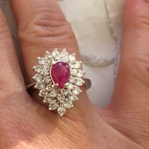 Jewelry - Solid 14K White Gold Genuine Ruby & Diamond Ring